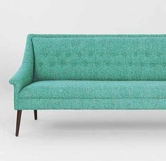 teal colored sofas | urban outfitters aqua teal green blue mid century tufted sofa
