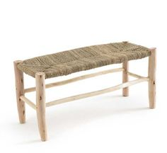 This GHADA bench, made from natural materials, will add a rustic air to your interior. The raw wood frame and woven palm leaf seat bring the outdoors inside in the most stylish way possible. Home Furnishing Accessories, Home Furnishings, Home Accessories, Home Decor Furniture, Modern Furniture, Outdoor Furniture, Outdoor Decor, Dining Chair Makeover, Dining Bench