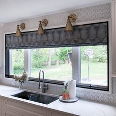 """Parkway Window Works on Instagram: """"We love the faux romans over the sink and in the sitting area designed by @cooper.studio. The beautiful fabric from @susanconnor_ny was a…"""" Valances, Valance Curtains, Sitting Area, Romans, Custom Fabric, Window Treatments, Sink, Windows, Studio"""