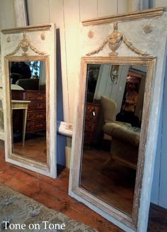 beautiful pair of French Directoire trumeau mirrors with mercury glass