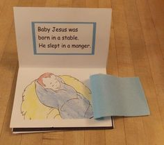 Lesson 2 Jesus is Born: Luke 2 - Touch and Feel Book craft, glue on swaddling blanket, wooly sheep, starry sky stickers, jewels on gifts (use for Lessons 3 and 4, too)