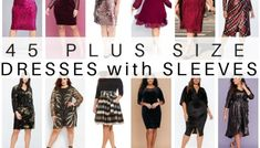45 Plus Size Wedding Guest Dresses {with Sleeves} - Alexa Webb Plus Size Sequin Dresses, Party Dresses With Sleeves, Plus Size Wedding Guest Dresses, Plus Size Party Dresses, Dressy Dresses, Plus Size Outfits, Bride Dresses, Wedding Dresses, Prom Dresses