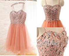Spaghetti Straps Beading A-Line Short Prom Dress,Homecoming Dress,Graduation…