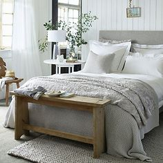 Give your bed a fresh Autumn update with our cool-cotton bed linen, quilts, throws and cushion covers. Discover the new bedroom range at The White Company. Headboard With Lights, Bed Lights, Cotton Bedding Sets, Linen Bedding, Bed Linen, White Bedding, Grey Bedroom Decor, Home Bedroom, Master Bedroom