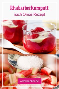 Rhabarberkompott - so geht das Grundrezept Rhubarb Compote, Chocolate Slice, Crisp Recipe, Food Words, Vegetable Drinks, Healthy Eating Tips, Summer Desserts, Food Menu, Quick Easy Meals