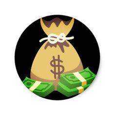 #Rich Vibes   Bag of Money Emoji Classic Round Sticker - #emoji #emojis #smiley #smilies Money Emoji, Aesthetic Bags, Money Tattoo, Drawing Bag, Cartoon Bag, Round Stickers, Custom Stickers, Activities For Kids, Diy Projects