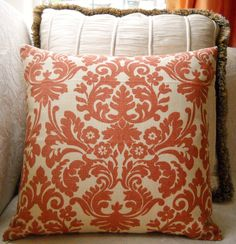 """Large Coral and Cream  Damask Print 20"""" Linen Pillow Cover"""