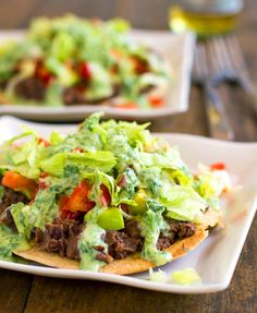 Healthy Black Bean Tostada with Cilantro Sauce via the super talented Lindsay, Pinch of Yum