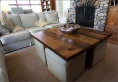 coffee table w/ottomans underneath, can be made using a pallet Have the underneath now I just need the top part