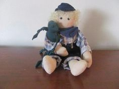 New Little Boy with Frog Cloth Doll Free Shipping $19.95
