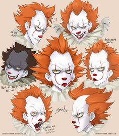 Pennywise sketches by on DeviantArt