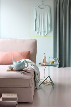 pastel inspirations www.chiara-stella-home.com.. I love the coral and the teal combo accessories
