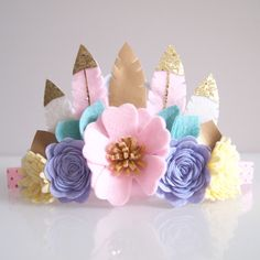 Unicorn inspired felt feather crown