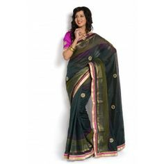 #Designer #Cotton Saree Shop now : http://www.valehri.com/bottal-green-cotton-full-saree-with-designer-raw-silk-blouse-1717