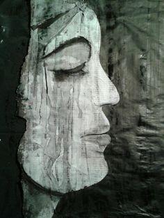 Portret inkt en houtskool op krantenpapier