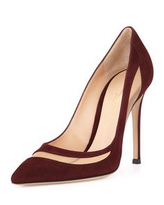 Giavnito Rossi | Suede & Tulle Keyhole Pump