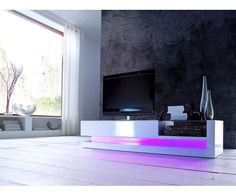 Made from high quality MDF with a high gloss white finish, the tv unit features 2 drawers and an open compartment for media devices, RGB LED lighti. Tv Unit Furniture, Led Furniture, Wooden Furniture, Online Furniture, Living Room Wall Units, Living Room Tv Unit Designs, Clearance Outdoor Furniture, Best Outdoor Furniture, High Gloss Tv Unit