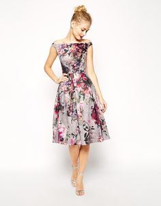 Image 1 of ASOS Beautiful Floral Printed Midi Prom Dress