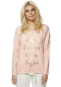 655fccfa1063 F F Coffee Slogan Tie Hem Lounge Top - Pink