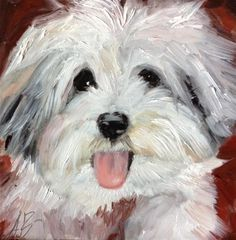 "Daily Paintworks - ""A Havanese Puppy"" - Original Fine Art for Sale - © Annette Balesteri"