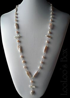 Long Cultured PEARL NECKLACE Biwa Stick Pearls Linked Wire Wrapped Fine Silver N0158 by LooLoo's Box Handcrafted Jewelry