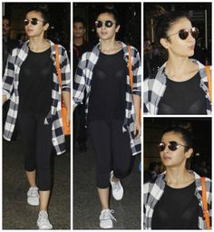 Both Sonakshi Sinha and Alia Bhatt are busy girls as they are out promoting their movies, Force 2 and Dear Zindagi. Both these young and pretty actre. Teen Winter Outfits, Summer Fashion Outfits, Casual Summer Outfits, Casual Ootd, Indie Fashion, Star Fashion, Girl Fashion, Celebrity Style Casual, Celebrity Outfits