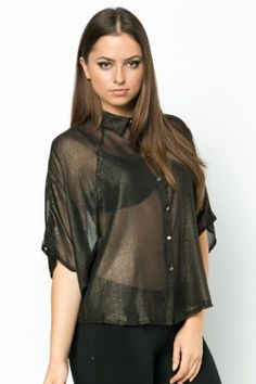 Cut-Out Back Metallic Batwing Blouse Everything £5