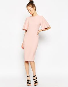 Image 2 ofASOS Exaggerated Angel Sleeve Pencil Dress with Open Back