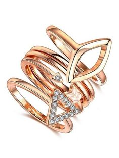 #Valentines #AdoreWe #Zaful - #Zaful Rhinestone Triangle Ring Set - AdoreWe.com