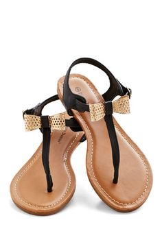 Pretty and Perf Sandal - Flat, Faux Leather, Black, Gold, Bows, Daytime Party, Summer, T-Strap