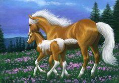 Palomino mare & foal