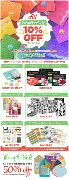 Just Added For National Scrapbooking Month!  10% Off All Scrapbooking, Including Hundreds of Just Added Items!