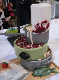 Cool Cajun food cooking theme cake.JPG