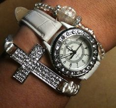 Set of 3 White and Silver Arm Candy Stack by SimplyEdgyDesigns, $28.00