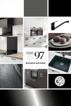 Kitchen Trends no. 97 - Monochrome A sophisticated black and white colour scheme combines with clean lines, streamlined technology and discreet accessories to create a minimalist kitchen. Kitchen Design Trends 2018, Latest Kitchen Trends, New Kitchen, Kitchen Ideas, Howdens Kitchens, Minimalist Kitchen, Black And White Colour, Clean Lines, Own Home