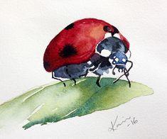 Peppermint Patty's Papercraft: Sunday Watercolors: Ladybugs (6.12.16) (image 3 of 3)