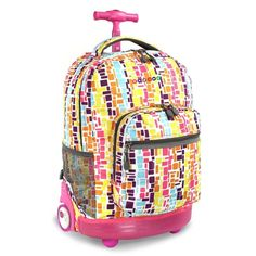 Kids Pink Squares Geometric Themed Rolling Backpack Textures Striped Suitcase Kids School Bag Backpack Wheels Wheeling Luggage Lightweight Fashionable