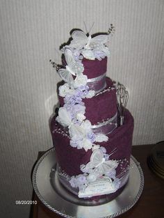 Towel cake, good wedding idea.