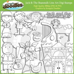 Jack And The Beanstalk Clipart Line Art Images Fairy Tale Theme Tales Unit