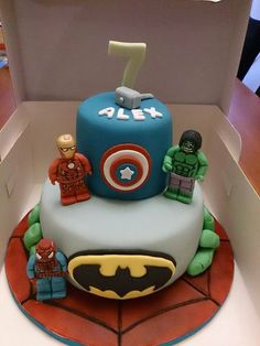 Marvel Lego Superhero Cake - Spiderman, Iron Man, Incredible Hulk, Thor, Captain America, Batman