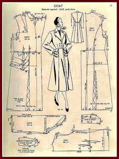 Pattern details for green coat, Miss. Haslam's system of dresscutting.