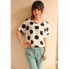 @everbuying  $9.65 Sweet Style Loose-Fitting Polka Dot Printed Short Sleeves Chiffon Women's T-Shirt #gifts