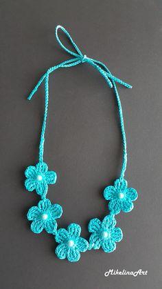 Diy necklace 526147168962027519 - Crochet NecklaceCrochet Neck Accessory Aquamarine Color Source by Crochet Jewelry Patterns, Crochet Earrings Pattern, Crochet Flower Patterns, Bead Crochet, Crochet Crafts, Crochet Flowers, Crochet Necklace, Neck Accessories, Crochet Accessories