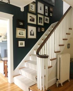 A new stair runner in the most charming foyer. A new stair runner in the most charming foyer. A new stair ru Dark Staircase, Staircase Wall Decor, Stairway Decorating, Staircase Design, Hallway Decorating, Spiral Staircases, Modern Staircase, Dark Green Walls, Dark Walls