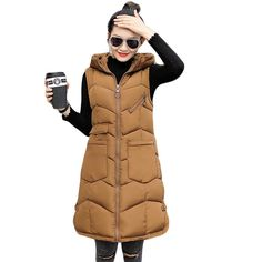Now available!! Limited editions!!! http://designsbyzuedi.myshopify.com/products/hight-quality-new-2017-fall-winter-sleeveless-waistcoat-women-long-slim-thick-down-cotton-vest-female-warm-hooded-vests-cm1901?utm_campaign=social_autopilot&utm_source=pin&utm_medium=pin Sleeveless Thick ...