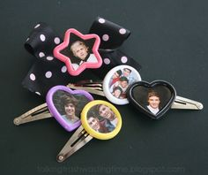 DIY Button picture hair clips & bows, customise with any picture you like, your puppy, kitten or favourite band/group like One Direction #1d #craft #fashion