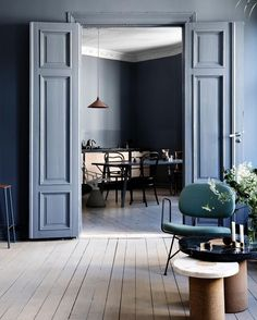 Slate and blue tones define this contemporary Nordic home.