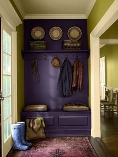 This is basically what I want, but with additional shelves up to the ceiling, and I'd like the bench be open underneath for baskets.