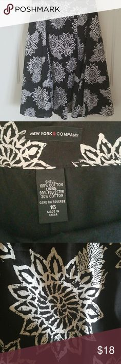 Pattern skirt Black skirt with white floral-ish pattern New York & Company Skirts Midi