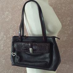 Brighton Purse Black Pebble Leather Handbag